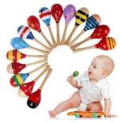 1 Adet Ahşap Oyuncak Marakas Ritim Ses Algı Ritimli Çocuk Müzik Aleti
