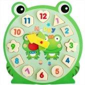 1 Adet Rakamlı Puzzle Bultak Saat Ahşap Oyuncak Kurbağa Ayı Ve Salyangoz