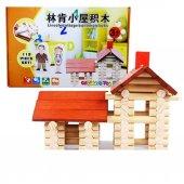 113 Parça Eğitici Kütük Ev Serisi Ahşap Ev Eğitici Oyuncaklar Algı Seti