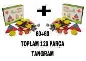 120 Parça Ahşap Eğitici Tangram Puzzle Blok İkili Set