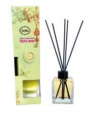 Tropik Esinti Bambu Çubuklu Egzotik Kare Şişe...
