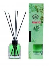 Yeşil Çay Bambu Çubuklu Egzotik Kare Şişe Ortam Kokusu 100
