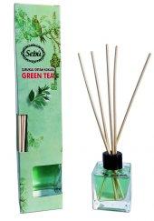 Yeşil Çay Bambu Çubuklu Egzotik Kare Şişe Ortam Kokusu 50