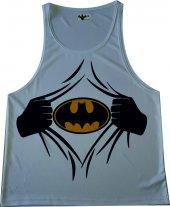 Batman Beyaz Fitness Atlet Tank Top Dijital Baskı