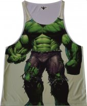 Hulk Yeşil Dev Beyaz Fitness Atlet Tank Top Dijital Baskı
