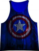 Captan America Mavi Fitness Atlet Tank Top Dijital Baskı