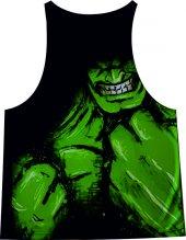 Hulk Face Siyah Fitness Atlet Tank Top Dijital...