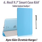 Ipad 9.7 6. Nesil Smart Case A1893 A1954 Mavi Tablet Kılıfı