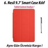 iPad 9.7 6. Nesil Smart Case A1893 A1954 KırmızıTablet Kılıfı