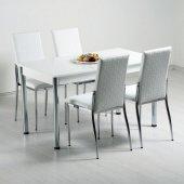 1 Masa + 4 Sandalye Mutfak Masası Masa Sandalye Takımı Beyaz