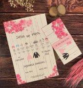 Gelin Damat Pembe Çiçek Baskılı Düğün Ve Nişan Davetiyesi 100 Adet
