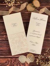 Kırık Beyaz Zeminli Düğün Ve Nişan Davetiyesi 100 Adet