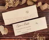Kırık Beyaz Zeminli Katlamalı Düğün Ve Nişan Davetiyesi 100 Adet