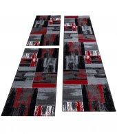 Halı Yolluk Seti 3 lü Takım Yatak odası kareli Siyah Gri Kırmızı Beyaz