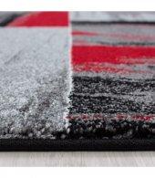 Halı Yolluk Seti 3 lü Takım Yatak odası kareli Siyah Gri Kırmızı Beyaz-2