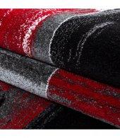 Halı Yolluk Seti 3 lü Takım Yatak odası kareli Siyah Gri Kırmızı Beyaz-4