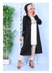 Tesettür Elbise Giyim Kolu Payetli Kapşolu Siyah Hırka Kap