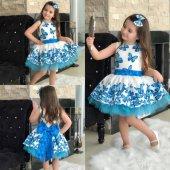 Mavi Kelebekli Tüllü Çocuk Elbisesi - Mavi Kız Çocuk Elbisesi - Tokalı Elbisesi - Kelebek Desenli