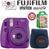 Fujifilm İnstax Mini 9 +askı+çanta+20'li Film (Mor)