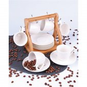 Arow Bambu Standlı Porselen 6 Lı Kahve Fincan Takımı