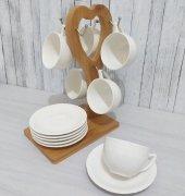 Arow Bambu Kalpli Standlı Porselen 6 Lı Kahve Fincan Takımı