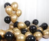 Krom Gold Balon Ve Siyah Balon Demeti