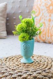 Yeşil Porselen Saksılı Gardenya