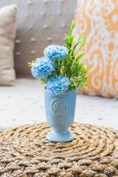Mavi Porselen Saksılı Gardenya