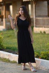 Bürümcük Boncuklu Siyah Elbise
