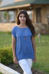 Sırt Çapraz Detaylı Mavi Bluz