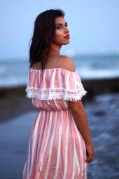 Çizgili Yazlık Pembe Kısa Elbise-2