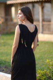 Bürümcük Boncuklu Siyah Elbise-2