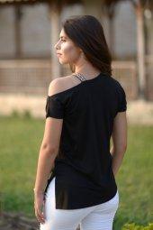Omuz Şeritli Siyah T-Şört-2