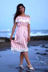 Çizgili Yazlık Pembe Kısa Elbise-3
