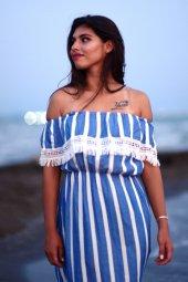 Çizgili Yazlık Mavi Kısa Elbise-3