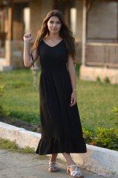 Bürümcük Boncuklu Siyah Elbise-3