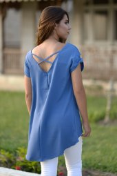 Sırt Çapraz Detaylı Mavi Bluz-2