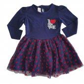 Kız Bebek Puantiyeli Tül Etek Detaylı 6 Ay 2 Yaş Elbise Lacivert C72049