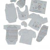 Erkek Bebek Ayıcık Tavşan Baskılı 10 Parça Hastane Çıkış Seti Beyaz C72537