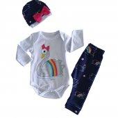 Kız Bebek Kuğulu Beyaz Lacivert 3 9 Ay 3lü Zıbınlı Takım C72504