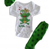Kız Erkek Bebek Kurbağa Baskılı 0 3 Ay Yeşil Takım C73233 3k