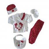 Kız Bebek Şapkalı 5Li Yenidoğan Set 0-3 Ay Kırmızı - C71807