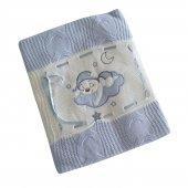 Erkek Kız Bebek Ayıcıklı Örme Battaniye Mavi C73378