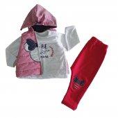 Kız Bebek Şişme Yelek Kapşonlu 6-18 Ay 3lü Takım Kırmızı - C71918