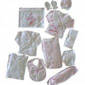 Kız Bebek 11 Parça Ayıcıklı Hastane Çıkış Seti Pembe C70789