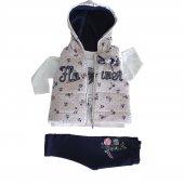 Kız Bebek Şişme Yelekli Kapşonlu 6 18 Ay 3lü Takım Lacivert C73484