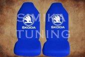 Skoda Sax Mavi Renk Ön Koltuk Penye Kılıf 1 Sticker Hediye