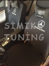 Mercedes Siyah Penye Ön Koltuk Kılıfı Ve Deri Boyun Yastığı 2 Li