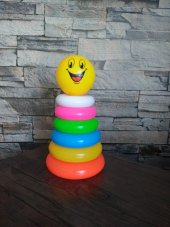 Plastik Silindir Kule Eğitici Eğlenceli Halkalar Oyuncak