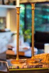 2li Antique Uzun Altın Şamdanlık
